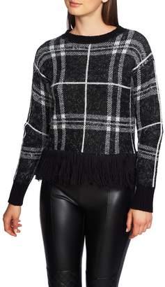 1 STATE 1.STATE Eyelash Plaid Fringe Hem Sweater