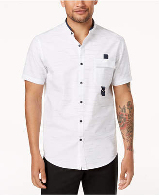 INC International Concepts I.n.c. Men's Textured Stripe Band-Collar Utility Shirt, Created for Macy's