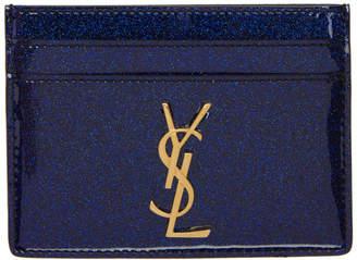Saint Laurent Blue Patent Glitter Monogramme Card Holder