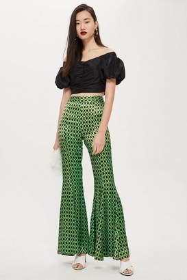 Topshop Geo Print Flared Trousers