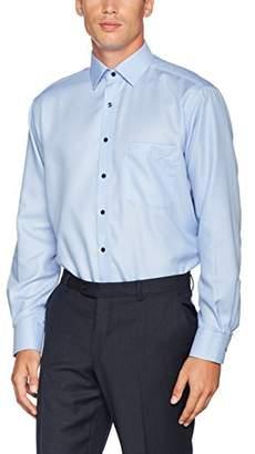 Eterna Men's Comfort Fit Langarm Mittelblau Strukturiert Mit Modern Kent-Kragen Formal Shirt