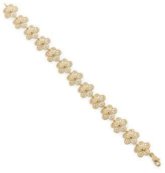 Made In Italy 14k Gold Filigree Flower Bracelet