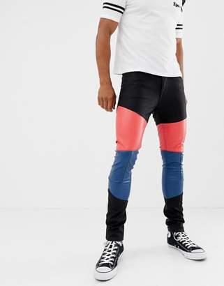 e68cb3c0dbffb8 Asos Design DESIGN super skinny jeans in leather look with colourblock  panels