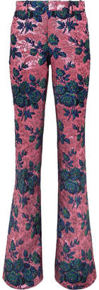 Gucci Floral Brocade Flared Pants - Pink