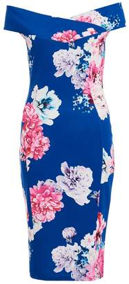 Quiz Royal Blue Floral Print Bardot Midi Dress