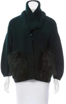 Burberry Fox-Trimmed Wool Cardigan