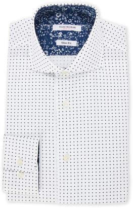 Isaac Mizrahi White & Navy Polka Dot Slim Fit Dress Shirt