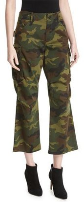 Alice + Olivia Johnsie High-Rise Camo Cropped Cargo Pants $295 thestylecure.com