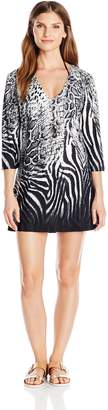 J Valdi Jvaldi Women's Printed 3/4 Inch Sleeve V-Neck Tunic Cover Up