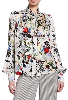 Erdem Lucien Tie-Neck Long-Sleeve Floral-Print Silk Blouse
