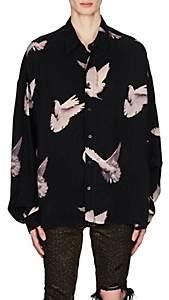 Amiri Men's Dove-Print Satin Oversized Shirt - Black