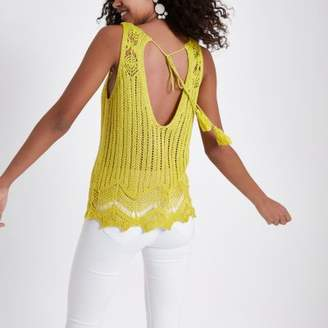 River Island Womens Yellow crochet knit tank top