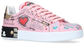 Dolce & Gabbana Leather Portofino Graffiti Sneakers