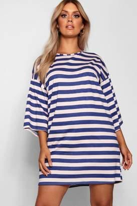 boohoo Plus Scoop Neck Striped T Shirt Dress