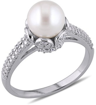 Miabella 8-8.5mm White Round Cultured Freshwater Pearl and Diamond-Accent Sterling Silver Cocktail Ring