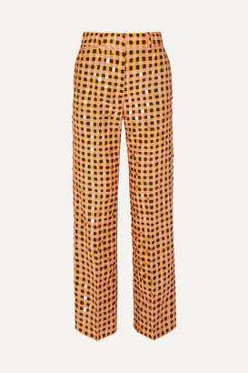 Stine Goya + Net Sustain Marcel Sequin-embellished Gingham Organic Hemp And Silk-blend Straight-leg Pants - Orange