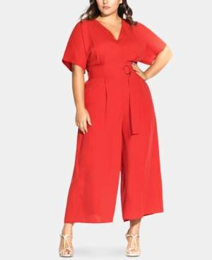 City Chic Trendy Plus Size Belted D-Ring Jumpsuit