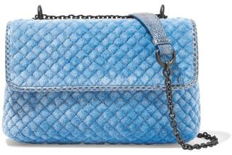 Bottega Veneta - Olimpia Watersnake-trimmed Quilted Velvet Shoulder Bag - Blue $1,800 thestylecure.com