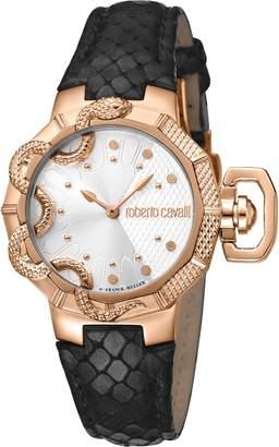 Roberto Cavalli by Franck Muller Serpente Geometrico Leather Strap Watch, 34mm