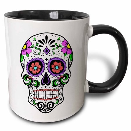 3dRose Sugar skull, Pink, Two Tone Black Mug, 11oz