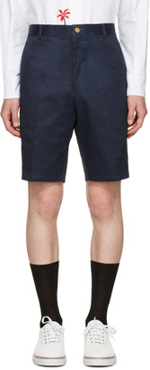 Thom Browne Navy Unconstructed Chino Shorts $780 thestylecure.com