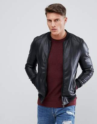Pull&Bear Faux Leather Bomber Jacket In Black