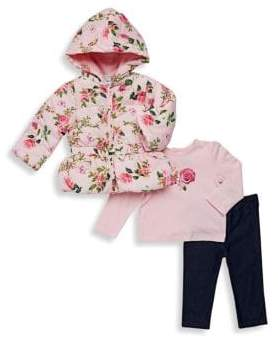 Baby Girl's Three-Piece Floral Jacket, Cotton Top & Leggings Set