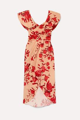 Johanna Ortiz Ruffled Floral-print Broderie Anglaise Cotton Midi Dress - Pink