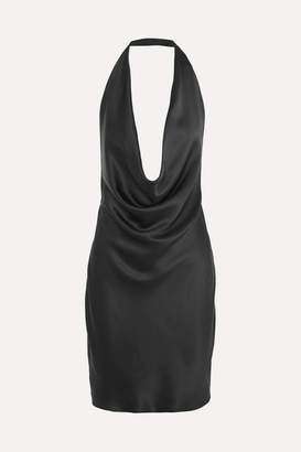 Stella McCartney Draped Silk-satin Halterneck Dress - Black