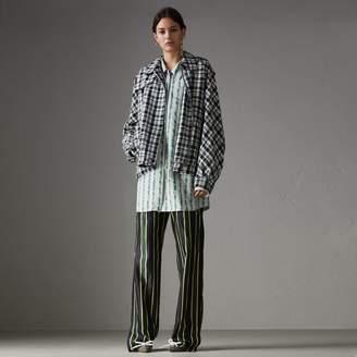 Burberry Scribble Stripe Print Silk Cotton Longline Shirt