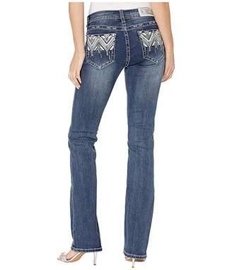 Grace in LA Mid-Rise Bootcut Aztec Embellished Jeans in Dark Blue