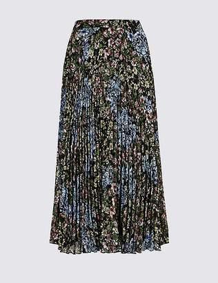 Marks and Spencer Floral Print Pleated Straight Hem Midi Skirt