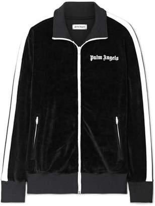 Palm Angels Striped Cotton-blend Velour Track Jacket - Black