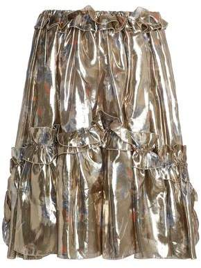 MSGM Ruffled-trimmed Lame Skirt