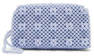 Shrimps - Molly Faux Pearl Embellished Clutch Bag - Womens - Blue