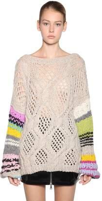 Natasha Zinko Open Back Striped Wool Blend Sweater