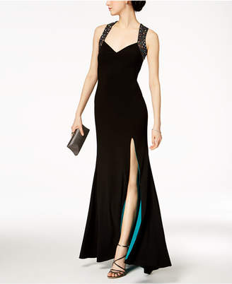 Betsy & Adam Beaded Open-Back Gown
