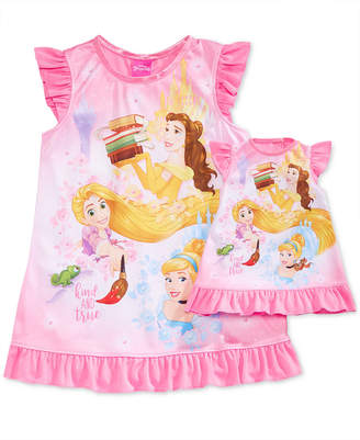 Disney Disney's Princesses Belle, Rapunzel & Cinderella Nightgown with Doll Nightgown, Toddler Girls