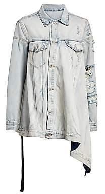 Unravel Project Women's Asymmetric Distressed Denim Jacket