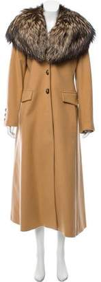 Burberry Fox Fur-Trimmed Wool Coat