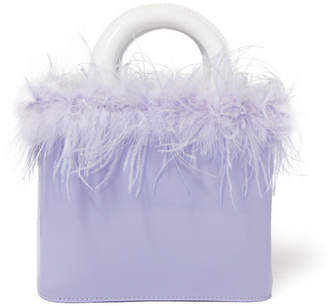 STAUD - Nic Feather-trimmed Patent-leather Tote - Lavender