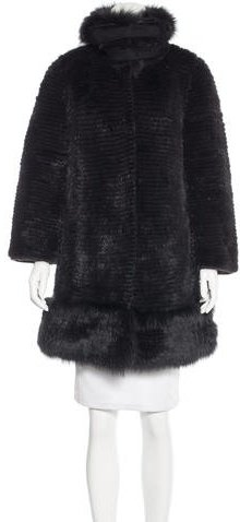 Valentino Valentino Striped Mink & Fox Fur Coat