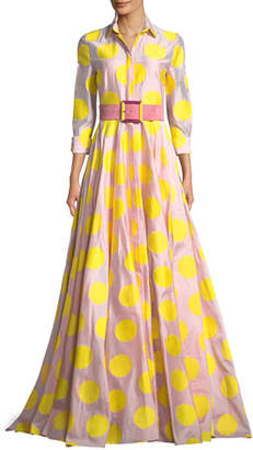 Carolina Herrera 3/4 Sleeve Dot-Print Fil Coupé Trench Gown