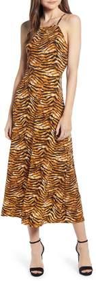 J.o.a. Cheetah Print Lace-Up Back Midi Dress