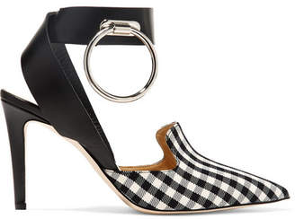 Monse Embellished Leather And Gingham Twill Pumps - Black