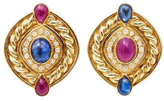 Vintage 18K Yellow Gold with 3.50ct. Ruby, 3.50ct. Sapphire & 0.50ct. Diamond Clip Earrings