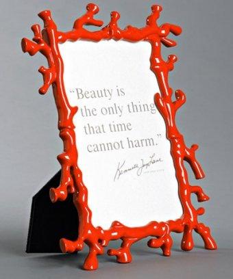 Kenneth Jay Lane coral enamel 4 x 6 frame