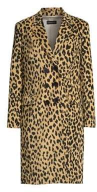 Piazza Sempione Animal Print Double Breasted Coat