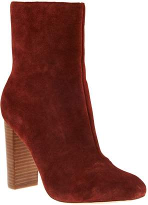 Sole Society Suede Mid-Calf Stacked Heel Boots - Veronika