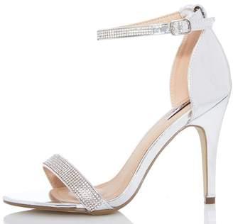 Quiz Wider Fit Silver Metallic Heel Sandals